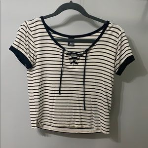 cropped striped short sleeve shirt (fits small)